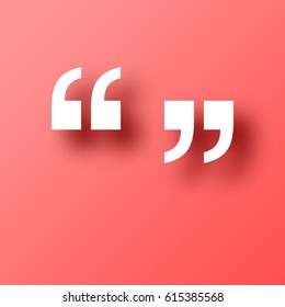 Quotation marks symbol isolated on red background with shadow. Vector illustration, easy to edit.  Template for your design, website, infographic, brochure, cover, business annual report,...