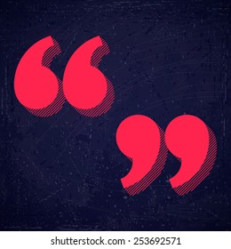 Quotation marks vector illustration. Blue grunge background texture