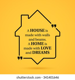 Quote about home in house outline on yellow background.