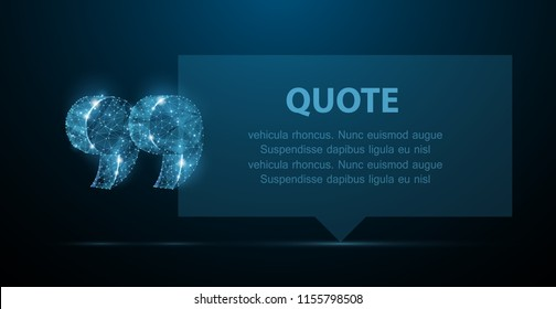 Quote. Abstract modern blank speech bubble with quote marks on dark blue background. For message, note, info, citation, remark or other