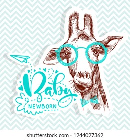 Quote for Baby shower party with pretty giraffe facial head on glasses. Pretty banner.
