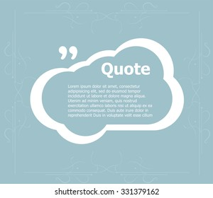 Quote blank template. Quote bubble. Empty template. Circle business card template, paper sheet, information, text. Print design