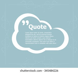 Quote blank template. Quote bubble. Empty template. Circle business card template, paper sheet, information, text. Print design. Quote form. Template vector set. Quote box blank
