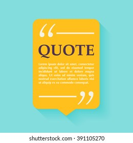 Quote blank template. Design elements, circle business card template, paper sheet, information, text.