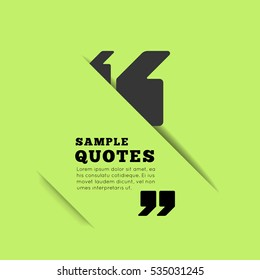Quote blank template on green background. Vector illustration