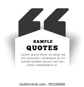 Quote blank template on white background. Vector illustration