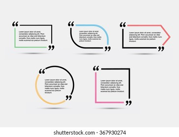 Quote blank template.  Vector eps 10 set. Empty quote bubble.  Quote form. Quote citation blank template. Blank template with print information design quotes. Color  quote bubble.