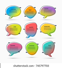 Quote box on trendy gradient background. Set of vector speech bubbles, text frames. Can be used for statement, citation, message, quotation, comment etc.