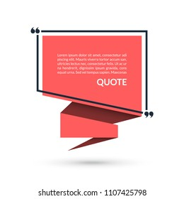 Quote box, speech bubble, citation empty frame isolated on white background. Vector illustration