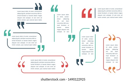 Quote box and speech bubble templates set with flat style color