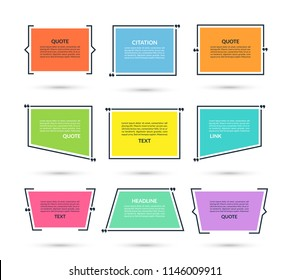 Quote box, speech bubble, text in brackets, citation empty frame isolated on white background. Vector illustration