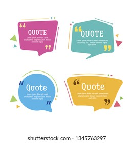 Quote box vector set on a white background. Templates quote bubbles with space for text in a flat style. Various colored quote blocks for statements or comments.