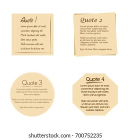 Quote box vector set on a white background.Template with space for text.  Natural colored quote blocks for statements and comments.