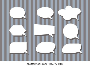 Quote box. Vector set of speech bubbles, text frames. Can be used for statement, citation, message, quotation, comment