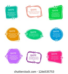 Quote boxes with text. Set of color quotes bubble templates. Speech bubbles. Citation in creative bubble vector isolated icons