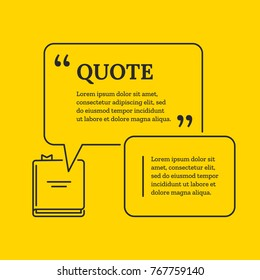 Quote Bubble with book in thin line infographics style