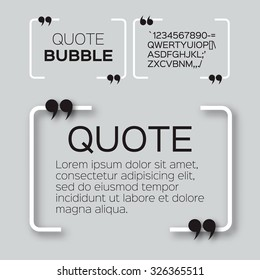Quote bubble. Speech bubble. Citation text box template. Quote blank.
