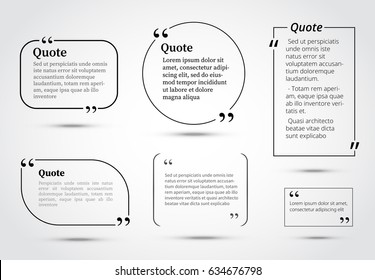 Quote bubbles template. Circle and rectangle quotes for business brochure, web, information text, magazine articles