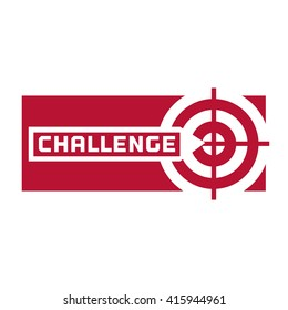 Quote Challenge. Business Challenge logo Concept. Motivational Poster to achieve the task. Plan fulfillment sign element.Success in Competition symbol. Challenge target sign icon. Vector illustration.