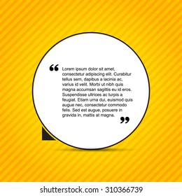 Quote citation Typographical Template, vector design. Light yellow color version.