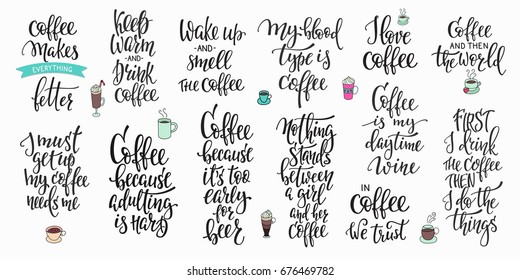 Quote coffee cup typography. Calligraphy style sign. Shop promotion motivation. Graphic design lifestyle lettering. Sketch hot drink mug inspiration vector.