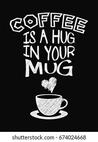 Quote Coffee Poster. Coffee is a Hug in Your Mug. Chalk Calligraphy style. Shop Promotion Motivation Inspiration. Design Lettering.