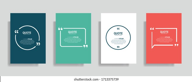Quote frames blank templates set. Text in brackets, citation empty speech bubbles. Text box isolated on color background. Vector illustration