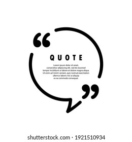 Quote icon. Quotemark outline, speech marks, inverted commas or talking mark collection. Blank for your text. Square shape. Vector EPS 10. Isolated on background
