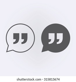 Quote icon in speech bubble . Vector illustration