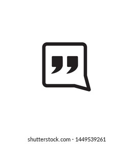Quote mark icon vector. Simple design on white background.