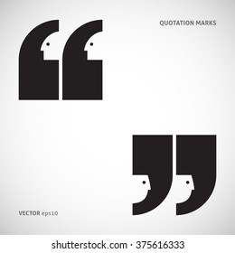 Quote marks with faces silhouettes. Eps 10