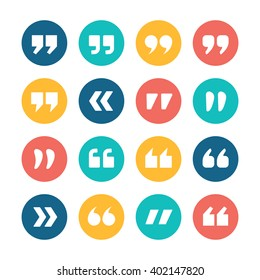 Quote marks flat circle vector icons set isolated on white background. Collection of double commas signs for quotation