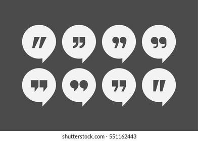 Quote marks vector abstract flat design icon set. Chat and message bubble illustration collection