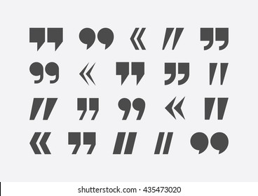 Quote marks vector abstract icon set