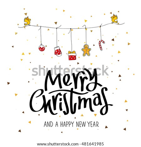 Quote Merry Christmas Happy New Year Stock Vector (Royalty Free ...