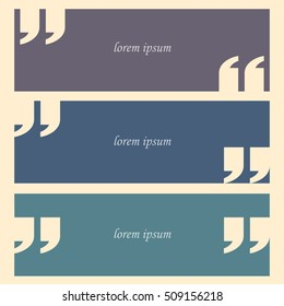 Quote with quotes on banners in retro colors. Design elements. Vector set