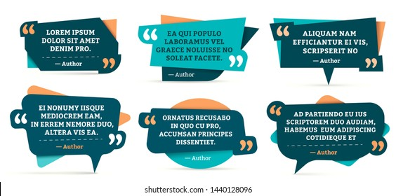 Quote remark frames. Quotation frame, quotes and mention quotations remarks templates. Info tag, quote textbox blog remarks or discussion citation memo word label. Isolated symbols vector set