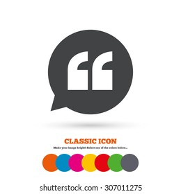 Quote sign icon. Quotation mark in speech bubble symbol. Double quotes. Classic flat icon. Colored circles. Vector