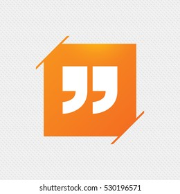 Quote sign icon. Quotation mark symbol. Double quotes at the end of words. Orange square label on pattern. Vector