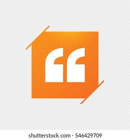 Quote sign icon. Quotation mark symbol. Double quotes at the beginning of words. Orange square label on pattern. Vector