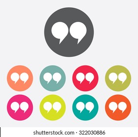 quote sign icon set, quotation mark symbol double quotes at the end of words