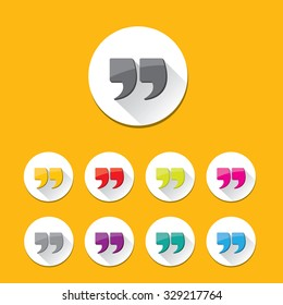 Quote sign icon set. Quotation mark in round shape button. Double quotes.