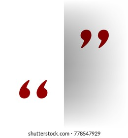 Quote sign illustration. Vector. Bordo icon on white bending paper background.