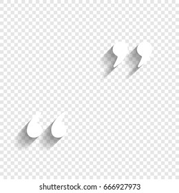 Quote sign illustration. Vector. White icon with soft shadow on transparent background.
