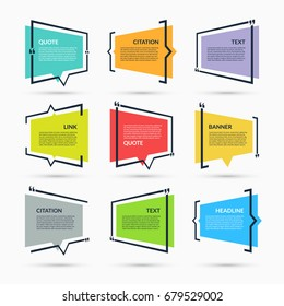 Quote speech bubble, blank template, text in brackets, citation empty frame, quote box isolated on white background