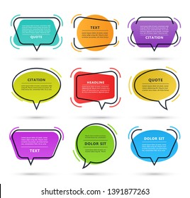 Quote speech bubble, text box, citation frame, colorful message banner isolated on white background. Vector illustration.