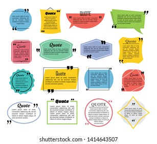 Quote speech bubbles, flat line design vector illustration