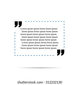 Quote template for text blue with shadow