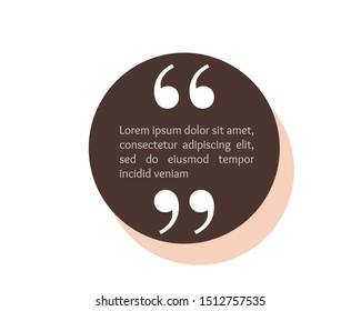 Quote text box, bubble for comment, mark design. Quotation banner template in flat modern style. Vector illustration background.