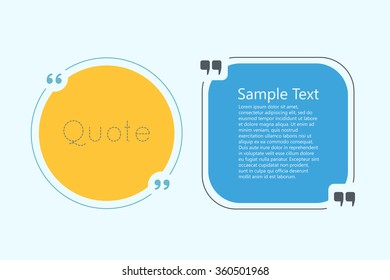 Quote text bubble. Commas, note, message and comment. Creative quote.  Quote template for your design